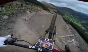 Mountain biker tackling the toughest track in the world